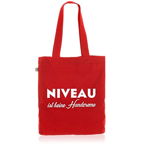 style3 Niveau ist Keine Handcreme Biobaumwolle Beutel Jutebeutel Tasche Tote Bag, Farbe:Rot
