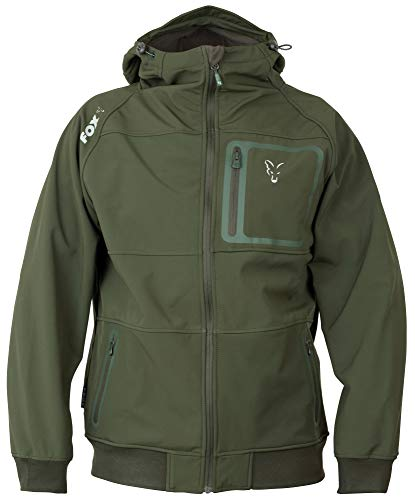 Fox Collection Greensilver Shell Hoodie - Softshell Pullover, Größe:L