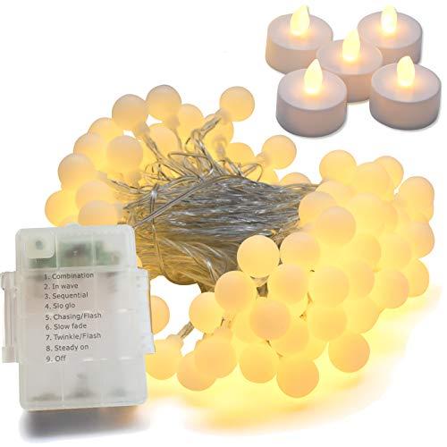 YouOne Guirnalda luces exterior e interior a pilas 10m 100 LEDs blanco calido + 5 velas led. Luz de decoracion casa y jardin con 8 modos de iluminación.