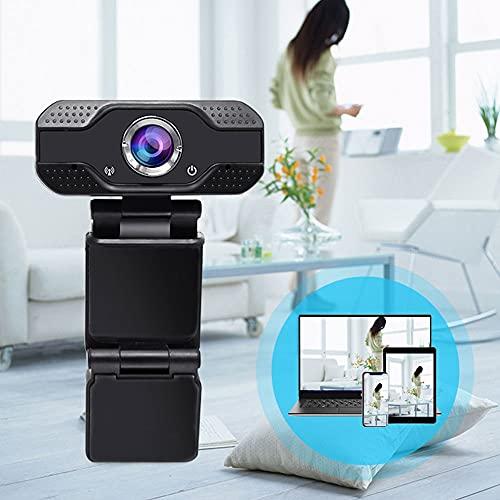 Webcam 1080P con microphone, USB webcam per PC portatile, grandangolo di 60 gradi, USB Plug & Play Webcam per videochat, studi, corsi, conferenze online