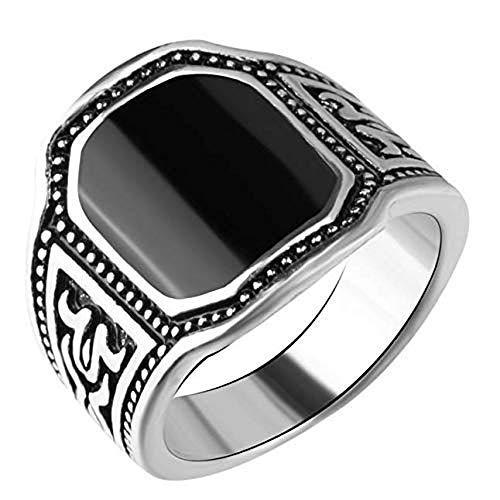 Inception Pro Infinite - Anillo con piedra incrustada negra para hombre - Idea regalo (IT 16)