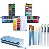 Peinture Aquarelle Professionnelle-Palette pour Aquarelle 60 Couleurs Transportable avec 3 Pinceau à Réservoir d'Eau 10 pour Débutant Amateurs Artistes et Voyage
