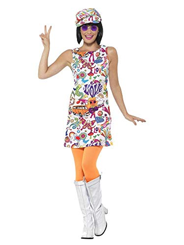 shoperama 60's Groovy Damen Kleid mit Ballon-Kappe A-Linie Mini-Rock 60er Jahre Sixties Twiggy Flower Power Peace Love Hippie, Größe:M