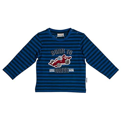 Salt & Pepper Baby-Jungen Born to Drive Rennwagen Schaumprint Langarmshirt, Blau (French Blue Melange 466), (Herstellergröße: 74)