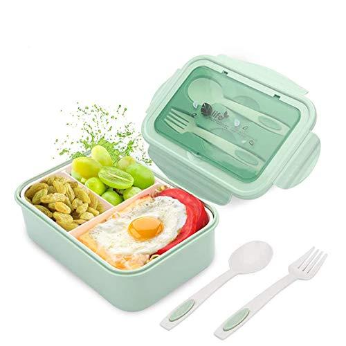 JIASHA Infantil Lunch Box,Almuerzo de Plástico Caja de Bento,1400ml de Almuerzo a Prueba de Fugas para Bento Box con 3 Compartimentos y Cubiertos, para Microondas y Lavavajillas (Verde)
