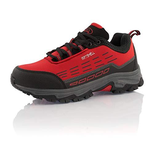 Fusskleidung® Wanderschuhe Damen Herren atmungsaktive Trekkingschuhe leichte Outdoorschuhe Rot Schwarz EU 44