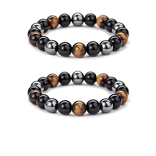 2 piezas de pulsera para hombre, ojo de tigre fuerte, obsidiana, hematita, gema natural para hombres y mujeres, regalo de tratamiento anti-mal de ojo, empaque de franela + 1 rollo de cuerda elástica