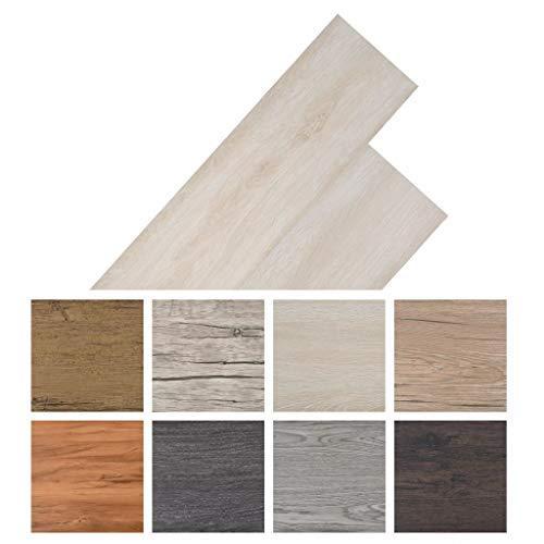 Tidyard Vinyl-PVC Laminat Dielen, Bodenbelag, 5,26 m², rutschfest, Wasserfest, Schwer Entflammbar, Schimmelbeständig, für Küche, Bad, Flur oder Wohnzimmer, 6 Dekors wählbar - Eiche Klassisch Weiß
