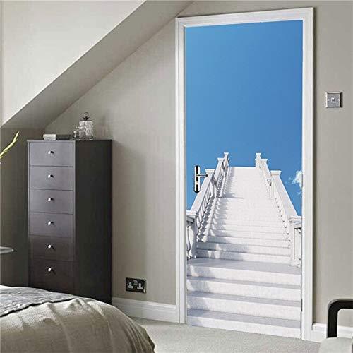 Leileixiao Pegatinas para puerta de escaleras de roca, autoadhesivas, de hierro, para sala, dormitorio, decoración de azulejos de cerámica (color: MT178, tamaño de la pegatina: 95 x 215 cm)