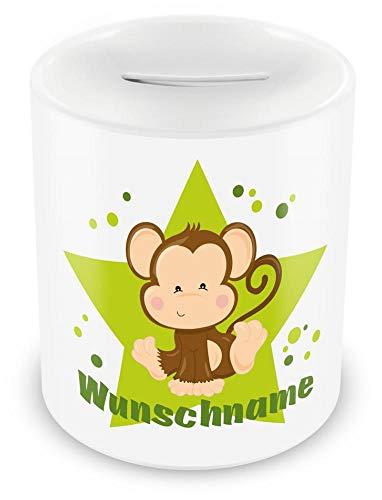 Samunshi® Kinder Spardose mit Namen und Affe als Motiv für Kinder - Jungen und Mädchen Sparschwein weiß