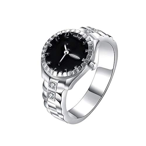 ManxiVoo Mens Womens Creative Finger Ring Watch Analog Quartz Watch Engagement Wedding Ring (Silver, 7)