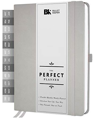 The Perfect Planner by BK. Undated Planner for 2021 or Any Year! Weekly & Monthly Structures. Sticker Set Included. A5 (5.8 x 8.3) Gray Hardcover