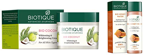 Biotique Bio Coconut Whitening And Brightening Cream, 50g And Biotique Bio Honey Water Clarifying Toner, 120ml