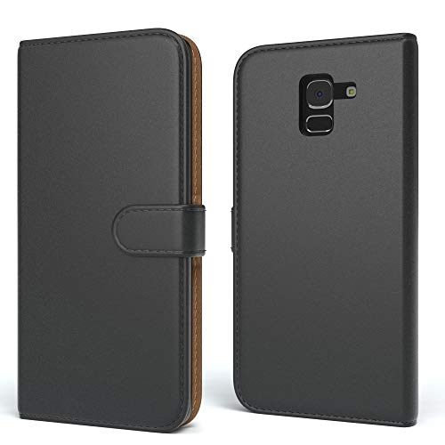 EAZY CASE Tasche für Samsung Galaxy J6 Schutzhülle mit Standfunktion Klapphülle im Bookstyle, Handytasche Handyhülle Flip Cover mit Magnetverschluss & Kartenfach, Kunstleder, Schwarz