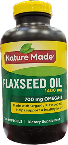 nature made flaxseed oils Nature Made Organic Flaxseed Oil 1,400 mg - Omega-3-6-9 for Heart Health - 300 Count (Pack of 1)