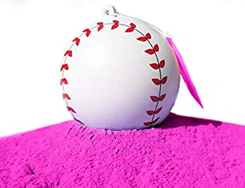 J&M Gender Reveal Baseball for Baby Showers and Reveal Parties - 100% All Natural Holi Powder  Pink