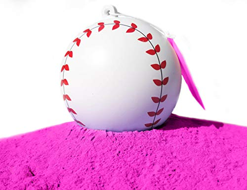 J&M Gender Reveal Baseball for Baby Showers and Reveal Parties - 100% All Natural Holi Powder (Pink)