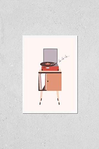 Poster Reproduction of Analog music player or turntable playing song or vinyl record isolated on light background. Home furnishing or old-fashioned audio device. Colorful decorative illustration