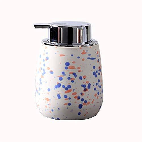 13 oz Distributeur Mignon de Savon en céramique Bouteille Rechargeable Matte Distributeur de Savon Liquide Pompe for Salle de Bains Meuble-lavabo (Color : White)