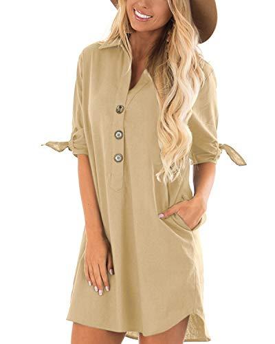 CNFIO Sommerkleid Damen Elegant Kleider V-Ausschnitt 1/2 Ärmel Einfarbig Shirt Design Kurz Blusenkleid Minikleid Strand Kleider Beige EU36-38