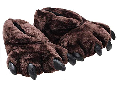 pantofole uomo orso CHNMARKET Pantofole Unisex con Zampa di Leopardo Pantofole con Zampa d'orso Comodo Caldo (Marrone)