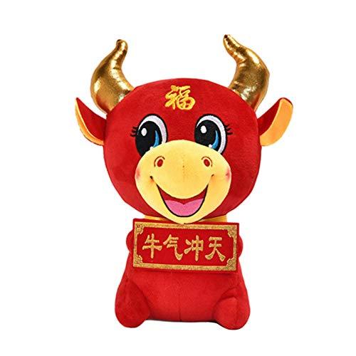 Kuh Plüschtier Weiches Vieh Kalb Puppe Polster Kuscheltier Kissen rotes Maskottchen für 2021 Chinese Ox New Year Lucky Zodiac Geschenk Home Office Schreibtisch Ornamente