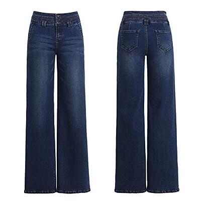 HOSDWomen Fashion Wide Leg Jeans for Autumn Winter Dark Blue Stretch High Waist Straight Baggy Long Beautiful Jeans from HOSD