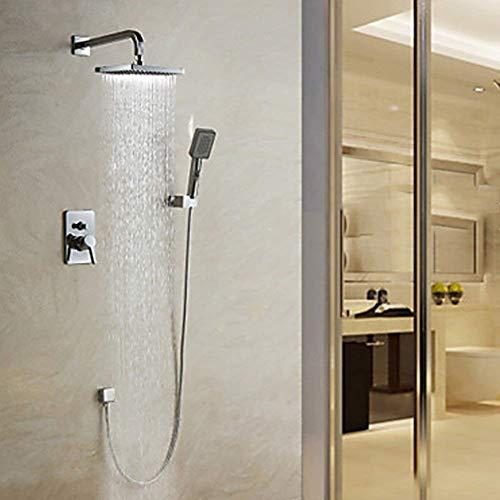 Yhtech Baño de ducha de lluvia moderna ducha de cascada pared conjunto bañera termostático for ducha de agua caliente/fría cabeza de la ducha (color: plata) Juego de ducha