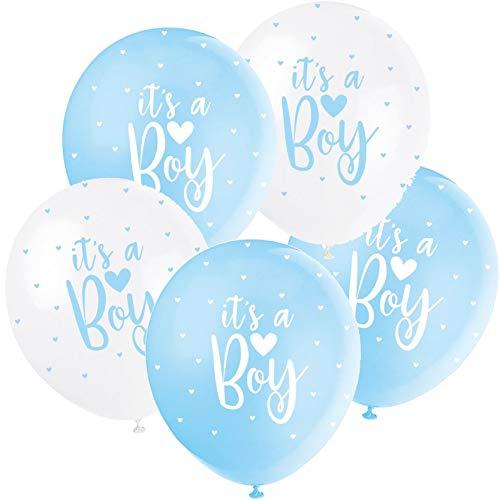 5 Ballons * It's A Boy * zur Deko für die Geburt eines Jungen | in weiß und blau | Luftballons Baby Pinkelparty Kinder Geburtstag Partydeko