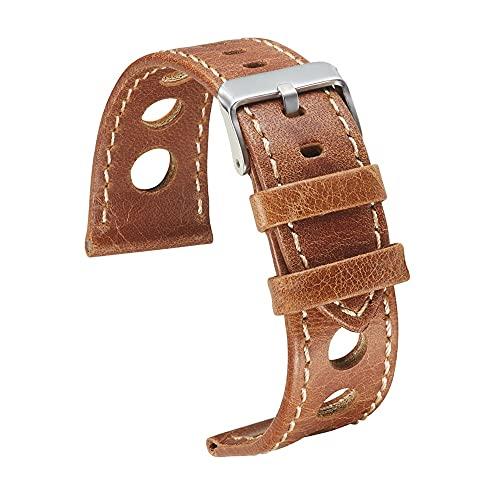 Reloj de bolsillo Reloj banda correa de cuero reloj de reloj marrón negro para hombres Cuero de vaca Banda de reloj con hebilla Banda de cuero transpirable de 3 orificios 22 mm 24 mm Reloj de bolsillo