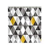 Duschvorhang mit geometrischem abstraktem Dreieck, grau, schwarz, weiß, gelb, Stoff, 152,4 x 182,9 cm