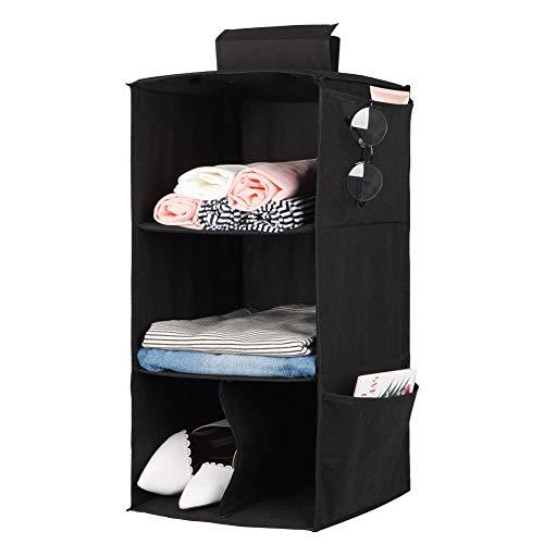 Estantería para colgar en armario con 3 compartimentos, plegable, para colgar, organizador de armario, zapatero, sistema de almacenamiento, color negro