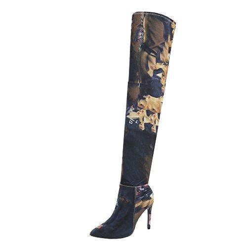 Ital-Design Overknees Damen-Schuhe Overknees Pfennig-/Stilettoabsatz High Heels Reißverschluss Stiefel Pink Multi, Gr 36, My212-