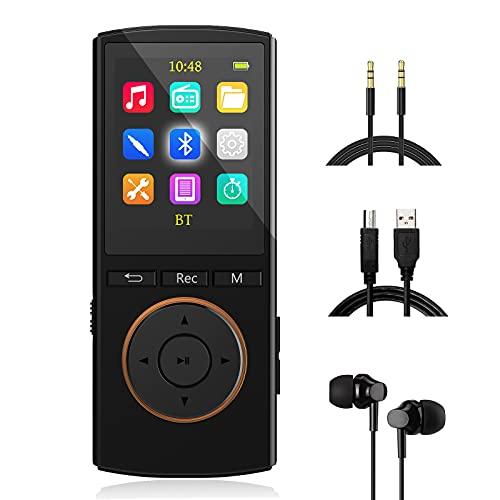 MP3 Player mit starkem Bluetooth, 32GB Sport mp3-player mit AUX-Eingang Record, FM Radio, HiFi Musik, Shuffle, Time-Sleeper, Matt Schwarz(Kopfhörer,USB-Kabel,AUX-Kabel im Lieferumfang Enthalten)