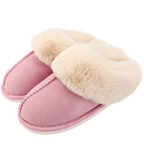 Auranso Ladies Slippers Fluffy Lined Warm Slippers Women Non Slip Cosy House Shoes for Indoor and Outdoor, Pink, 5/6 UK
