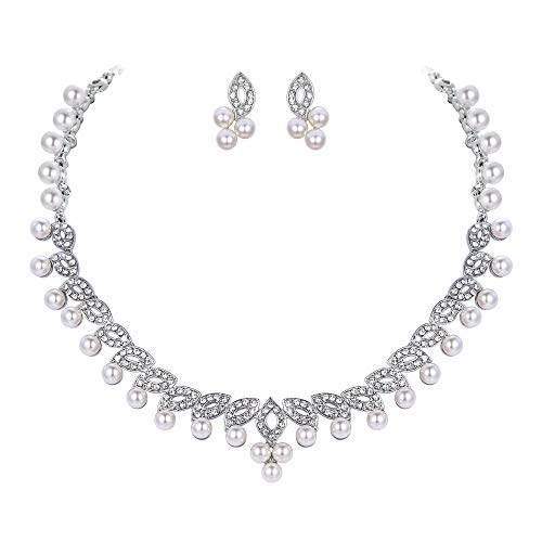 EVER FAITH Bridal Flower Leaf Cream Simulated Pearl Austrian Crystal Clear Jewelry Set