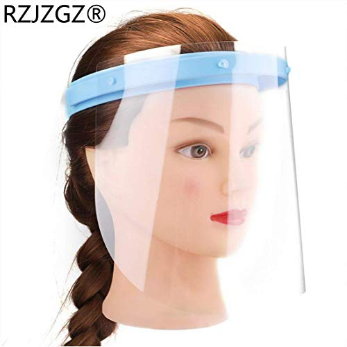 RZJZGZ Anti-fog Adjustable Dental Full Face Shield with 10 Replaceable Plastic Protective Film