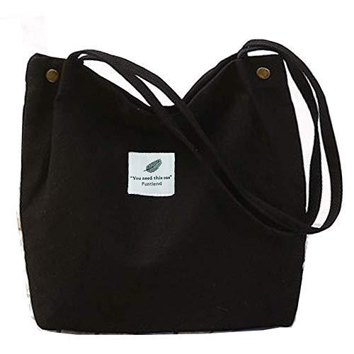 Funtlend Damen Handtasche Groß Umhängetasche Canvas Tasche Henkeltasche Damen Canvas Shopper für Mädchen Schule Einkäufe (Schwarz)
