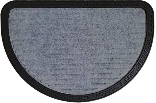 oKu-Tex Kreta Fußmatte für außen und innen, rutschfest & robust, halbrund, Grau, 40 x 60 cm