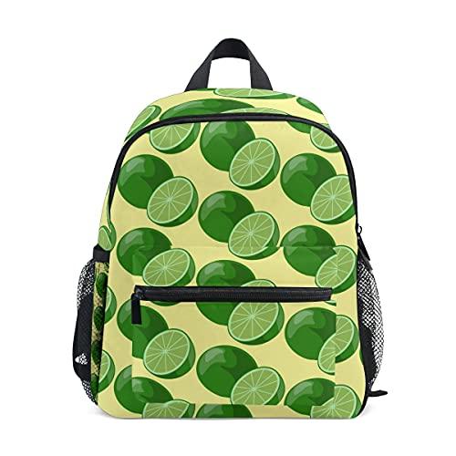 Mochilas para niños y niñas, verde limón preescolar bolsa con correa para el pecho