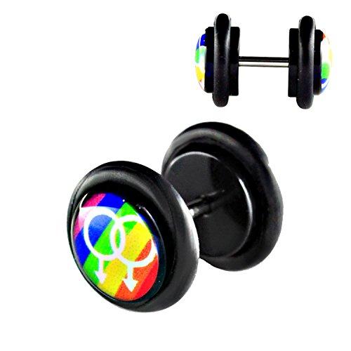 Lavida pendiente para el tapón de tuerca diámetro 10 mm 2 unidades acrílico negro con diseño de arco iris Gay