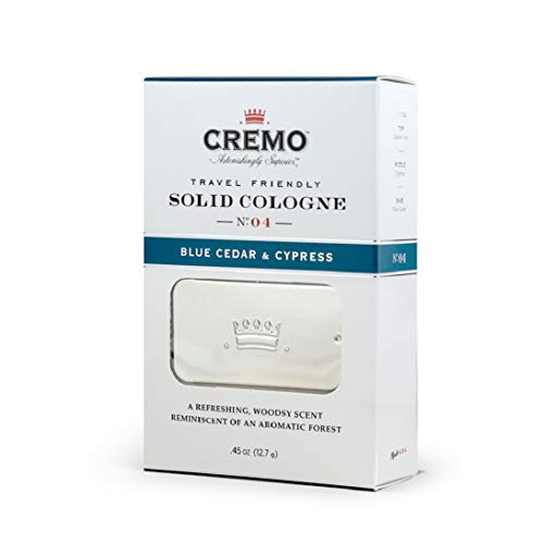 Cremo Blue Cedar & Cypress Travel Friendly Solid Cologne, A Woodsy Scent with Notes of Lemon Peel, Cypress and Cedar.45 Oz
