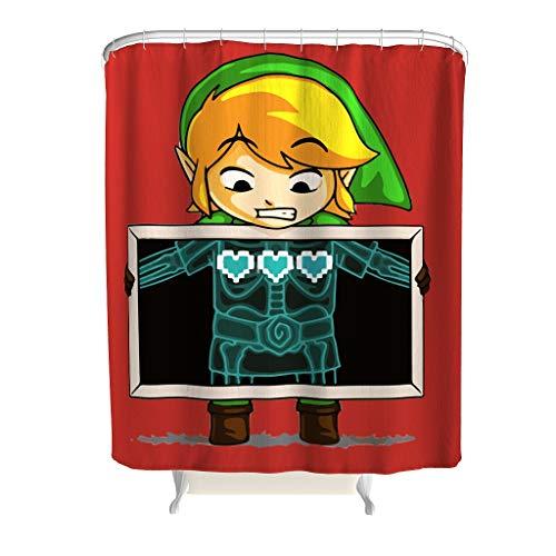 NC83 O6HuH & 8 Zelda-look thema Diverse stijlen douchegordijn leuk waterdicht badgordijn met ringen - Gamer-liefde voor apartment decoratief patroon afdrukken douchegordijn hotelkwaliteit waterdicht