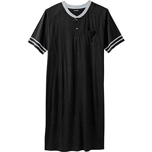 KingSize Men's Big & Tall Short-Sleeve Henley Nightshirt, Black Tall-4Xl/5X