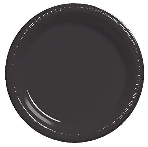 Creative Converting Pratos de plástico redondos pretos com toque de cor, 17,78 cm