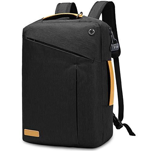 JANSBEN Laptop Rucksack Tasche 15.6 Zoll mit Schloss Herren Damen Business Anti Diebstahl Rucksack Uni Reisen Schulrucksack für Arbeit Schule,Black