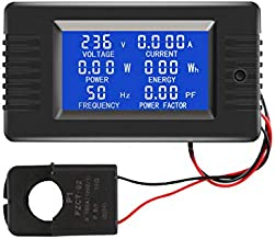 AC Current Voltage Amperage Power Energy Panel Meter LCD Digital Display Ammeter Voltmeter Multimeter with Split Core Current Transformer CT AC 80-260V 100A Multi-Function Power Monitor