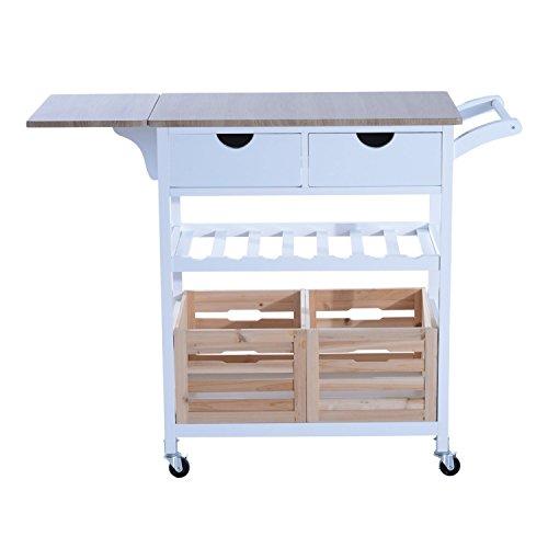 HomCom Carrello da Cucina Multifunzionale con 2 Ceste e Portabottiglie in Legno di Pino, Bianco, 70 x 40 x 86 cm