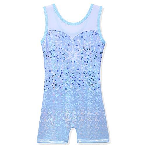 BAOHULU Leotard for Girls Gymnastics Kids Sparkle Tank Biketards with Shorts Dance Outfit B264_DotsBlue_130