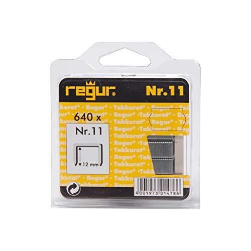 REGUR type 11 nietjes met platte draad verzinkt - 640 stuks in lengte 11/12 mm - nietjes voor het bevestigen van folies, papier, karton, textiel en nog veel meer